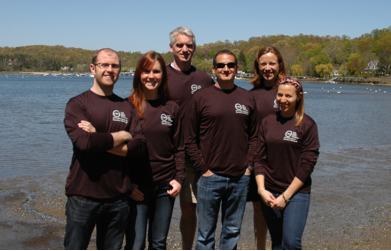 CSHL's Long Island marathon team; l-r - Shane McCarthy (Research Investigator, half marathon), Leah Sabin (Postdoctoral Researcher, half marathon), Tim ONeill (CSHLA Director, half marathon), Josh Dubnau (CSHL Associate Professor, 10K), Jessa Giordano (Public Affairs, 10K), Miriam Fein (Graduate Student, full marathon)