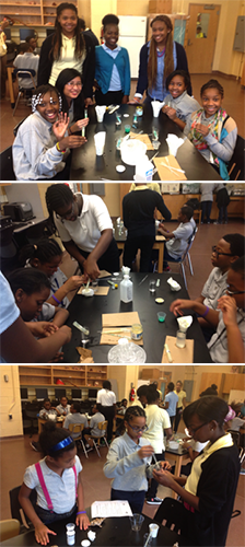 Program students from I.S. 059 Springfield Gardens show their classmates how to extract DNA back at school.