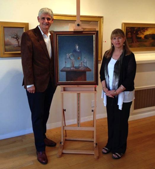 CSHL President & CEO Dr. Bruce Stillman with artist Elizabeth Turnbull at the Arts and Science benefit.  The painting now hangs in Dr. Stillman's office.