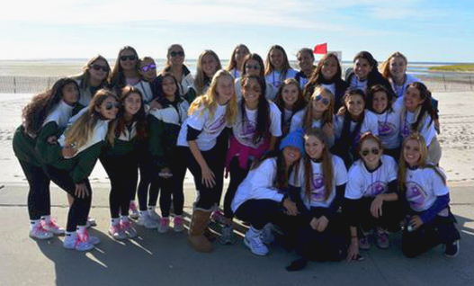 Team Acing Cancer, consisting of high school students from the Locust Valley Central School district pose just before the Long Island Pancreatic Cancer Research Walk. The team raised just over $3,500 to further important research done at CSHL.