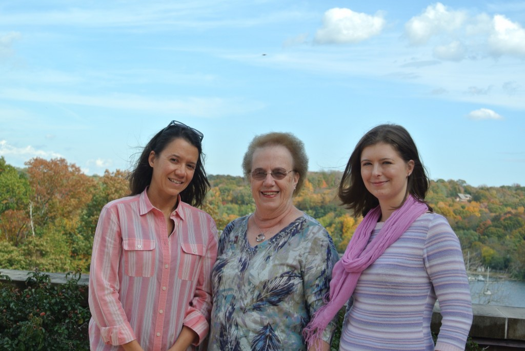 Assistant Professor Camila dos Santos (left) and Senior Fellow Olga Anczuków-Camarda (right) get together with breast cancer survivor ______ (center) earlier this fall to talk about breast cancer research. Dos Santos regularly meets with survivors to hear their perspectives on the problem of breast cancer.