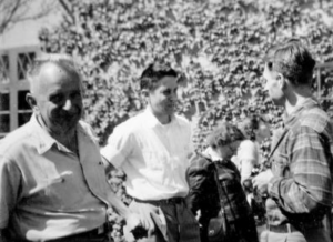 Milislav Demerec (far left) with famed evolutionary biologist Ernst Mayr at the 1950 Symposia at CSHL.