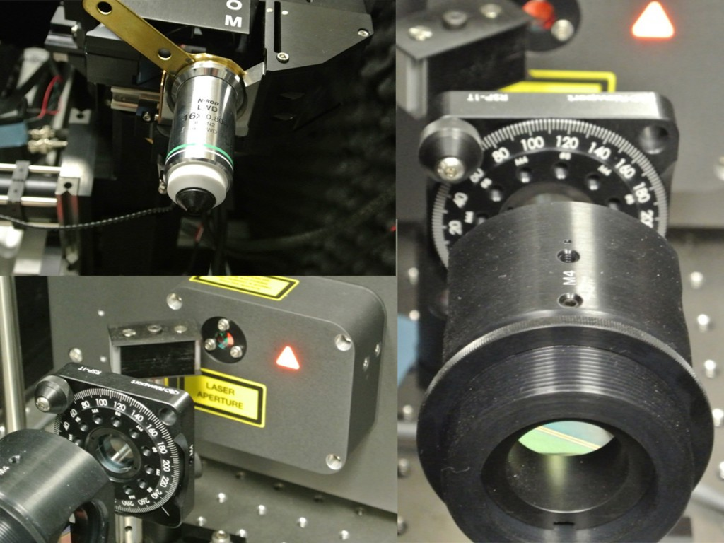 Photos of the microscope that Kaufman used to get the incredibly detailed brain images above. It uses laser pulses that are each just a small fraction of a billionth of a second to image the brain.
