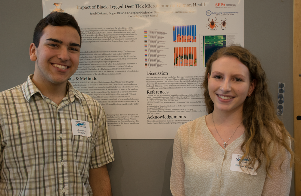 Connetquot High School students Chris and Giovanna share their genetic study of deer tick microbiomes at the DNALC-hosted symposium for Barcode Long Island.